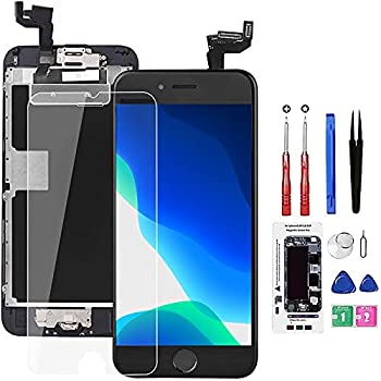 for iPhone 6S Screen Replacement Black,Drscreen LCD Touch Digitizer Complete Display for A1633 A1688 A1700,with Home Button Proximity Sensor Ear Speaker Front Camera Screen Protector and Repair Tool