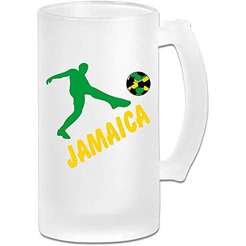 NHJYU Jarra de Cerveza Jamaica Flag Football Soccer Frosted Glass Stein Beer Mug - Personalized Custom Pub Mug- Gift for Your Favorite Beer Drinker