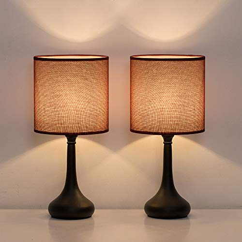 HAITRAL Small Table Lamps - Vintage Nightstand Lamps Set of 2, Bedside Desk Lamps for Bedroom, Living Room, Office, Kids Room with Metal Base & Fabric Lamp Shade - Wine Red (HT-BTL10-34X2)