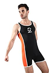 mens sports jumpsuit black and orange
