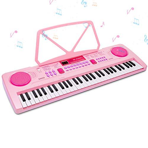 Digital Keyboard,Tastatur Klavier Digital Piano 61 Schlüssel Elektronische Klaviertastatur Einsteiger Tragbarer Elektronischer Tastatur mit Ständer & Mikrofon, Jungen und Mädchen Geschenk (Rosa)