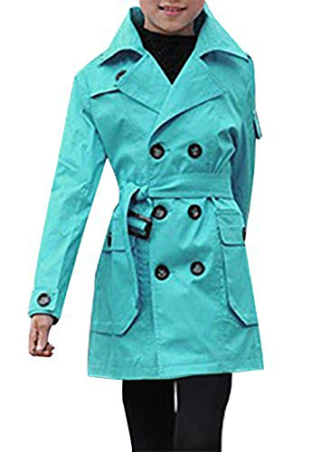 JiaYou Kid Child Girls' Double Breasted Trench Coat Outwear with Belt(Blue,14)