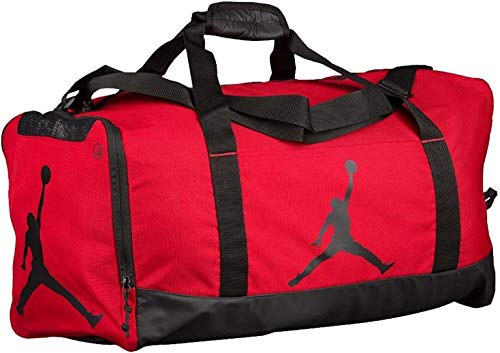 Nike Air Jordan Jumpman Duffel Sports Gym Bag Red/Black 8A1913 Wet/Dry Shoe Pocket Water Resistant