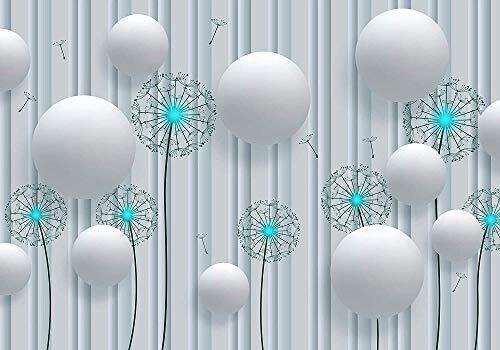 VGFGI Autoadhesivo 3D arte de pared blanco turquesa figura flor diente de león vinilo arte decoración de pared papel tapiz