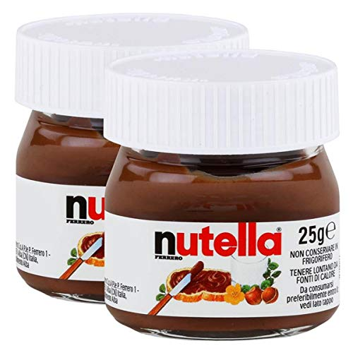 Ferrero Nutella Kleines Mini Design Glas 2er Set a 25g, Brotaufstrich, Nussnugatcreme, Schokoladen Auftrich