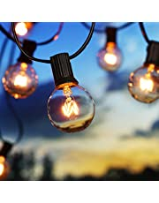 BrizLabs Lichtsnoer op zonne-energie, G40 gloeilampen, 9,9 m, 25 leds, voor in de tuin, waterdicht, voor bruiloft, feest, patio, terras, binnen, huis, kerstdecoratie, warm wit