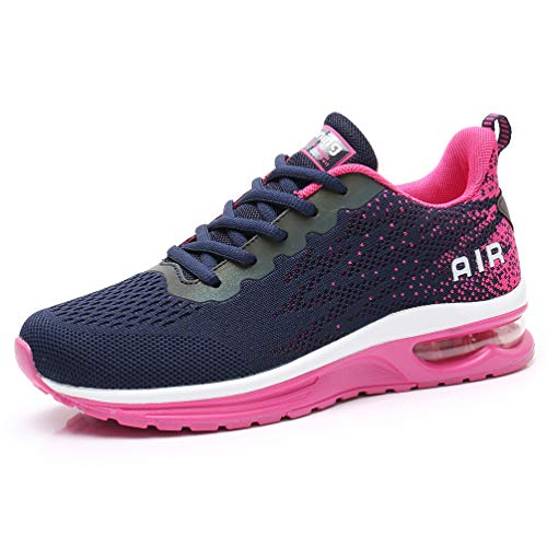 AFFINEST Homme Femme Chaussures de Course Air Running Baskets Chaussures de Sport Outdoor Fitness Gym Sneakers Légères Respirante Rose Noir 37