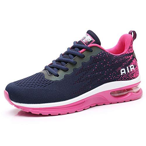 AFFINEST Damen Laufschuhe Sportschuhe Air Atmungsaktiv Turnschuhe rutschfest Leichte Schuhe Stoßfest Outdoor Mesh Sneaker Blau rosa 37
