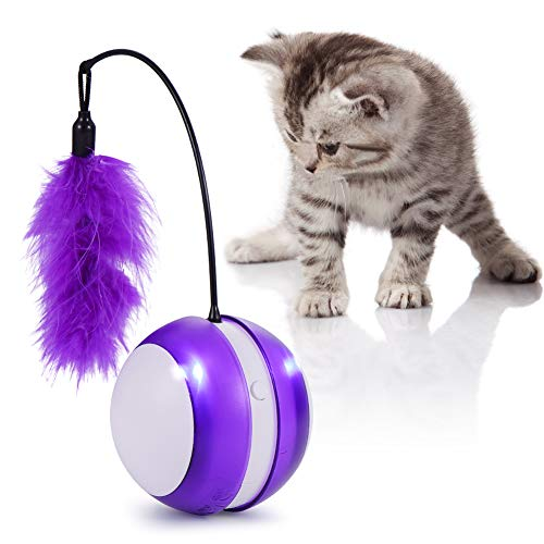 tiitc Cat Toys for Indoor Cats, Feather Cat Toys Interactive Best Electronic Cat Toy Cat Balls with Light, Smart Toys for Cats Interactive Cat Toys, Cat Exercise/Companion Toy Ball