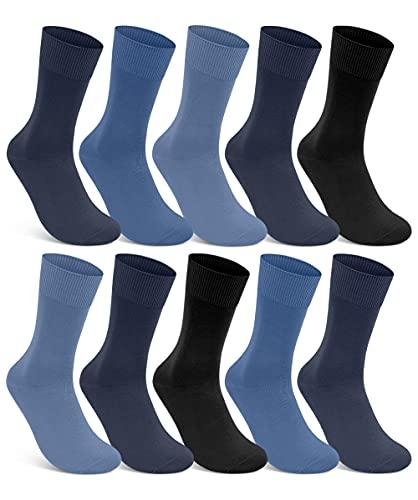 10 Paar Socken 100% Baumwolle Damen & Herren Socken ohne Naht und ohne Gummidruck (Jeans 43-46)