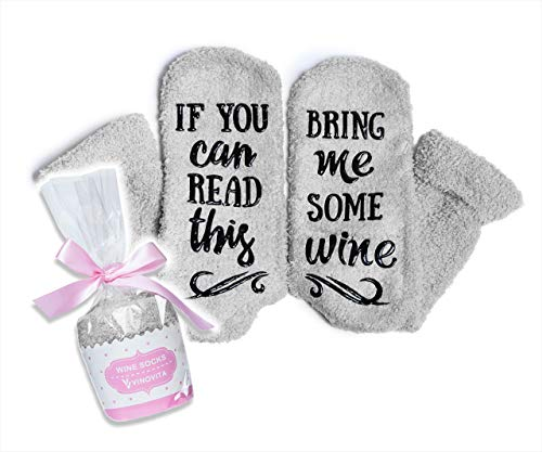 VINOVITA Funny Wine SocksIf You Can Read This, Bring Me Some Wine Hilarious Novelty Fuzzy Socks For Women & Girls, Soft Warm Fluffy Great Christmas gift