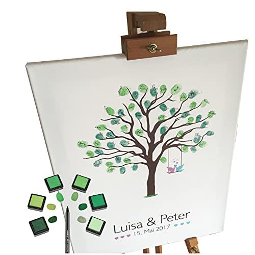 KATINGA Personalisierte Leinwand zur Hochzeit - Baum - für Fingerabdrücke (mit Name 30x40)