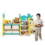 YOLEO Kinderregal, Kinderzimmerregal, Bücherregal für Kinder, DIY Spielzeug-Organizer mit 6 Aufbewahrungsboxen und 7 Paneele, Aufbewahrungsregal für Kinderzimmer, Schlafzimmer, Kindergarten, Schule