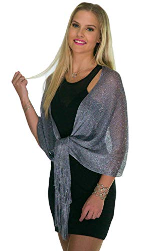 Shawls and Wraps for Evening Dresses, Wedding Shawl Wrap Fringes Scarf for Women Metallic Grey Silver Petal Rose