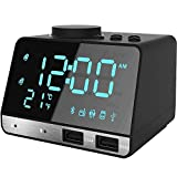 Thpoplete Clock Radio, 4.2' LED Digital Alarm Clock with Dual Port USB Charger, FM Radio, Snooze, Bluetooth AUX TF Card Play, Battery Backup, Large Dimmable LED Display for Bedroom, Best for Men