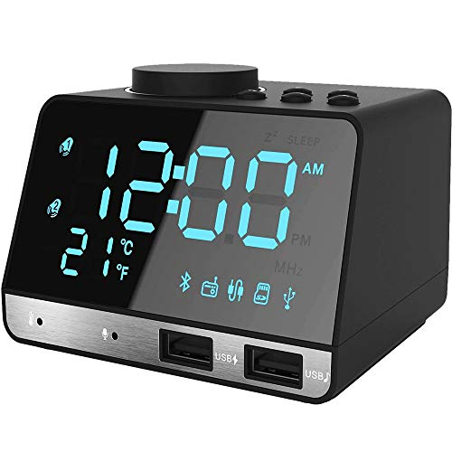 """Thpoplete Clock Radio, 4.2"""" LED Digital Alarm Clock with Dual Port USB Charger, FM Radio, Snooze, Bluetooth AUX TF Card Play, Battery Backup, Large Dimmable LED Display for Bedroom, Best Gift for Men"""