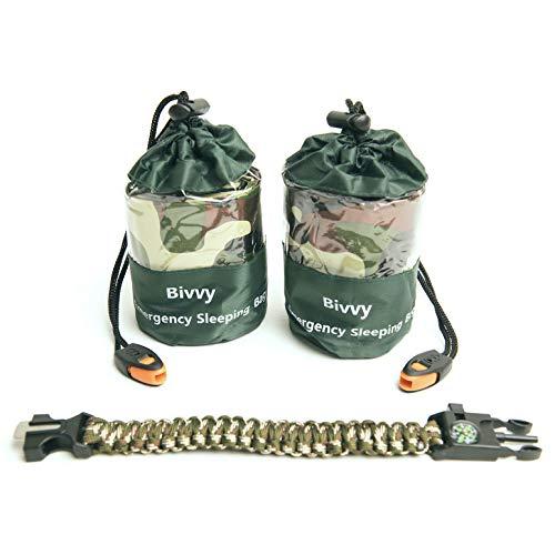 Q's INN 2 Bivy Sack Emergency Sleeping Bags Compact and Lightweight.Use as Survival Sleeping Bag...
