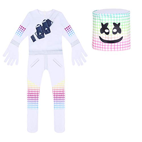 DJ Marshmallow Costume Kids Game Pajamas Sets Halloween Carnival Cosplay Tight-Fitting with Full Head Masks White