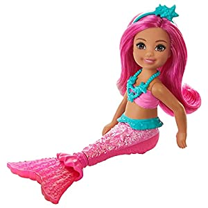 Barbie Dreamtopia mermaid dolls bring the colors of the rainbow to life! This adorable mermaid doll celebrates the color pink with vibrant pink hair and a bright, fairytale-inspired look A pink bodice and shimmery tail with a translucent fin ready Ch...