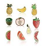 follwer0 Juego de 10 broches de esmalte para niños, diseño de frutas, para decoración, piña y pera, plátano, suéter, bufandas, broches