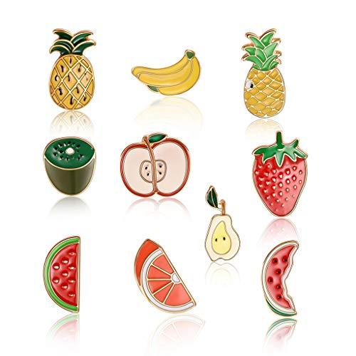 follwer0 10 Stück Brosche Pins für Kinder Obst Emaille Anstecknadeln Sets Abzeichen Geschenk für die Dekoration Ananas Birne Banane Pullover Schal Clips Broschen