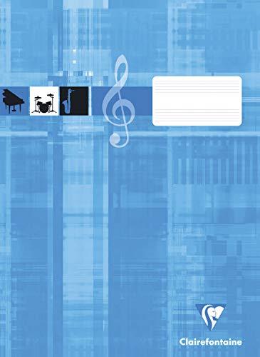 Clairefontaine 31014C Notenheft ideal für Musikunterricht, DIN A4, 21 x 29,7 cm, 8 Blatt, 90g, 1 Stück, türkis