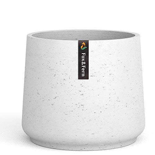 Fox & Fern 10' Tapered Plant Pot - Rough Clay - Modern Planter - Grey Wash