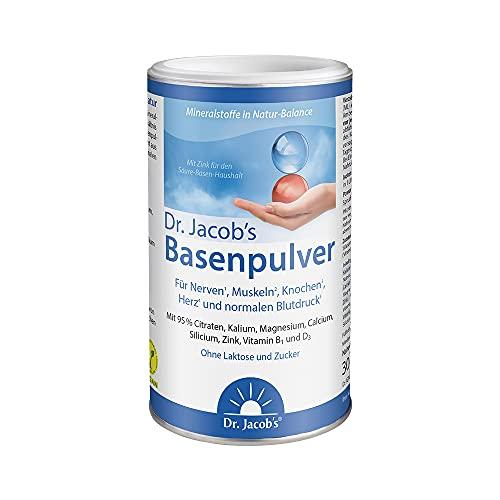 Dr. Jacob\'s Basenpulver auf Citratbasis I mit über 30 Gesundheitswirkungen I besonders viel Kalium wie in Gemüse und Obst, Calcium Magnesium Zink Vitamin D, auch für Diäten und Basenfasten I 300 g Dose Original Citrat-Basen-Pulver