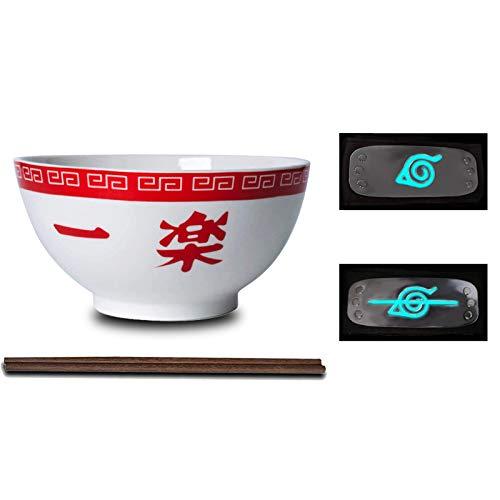 LVMMO KNWSHT Naruto Ramen Bowl Set (16,5 cm) mit Hölzernen Stäbchen und 2 Stirnbänder Porzellan Ramen Schüssel Suppenschüssel Set für Udon Nudeln Pho Soba Getreidesalat Kinder Geschenk,B