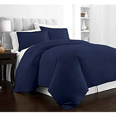 Beckham Hotel Collection Luxury Soft Brushed 2100 Series Microfiber Duvet Cover Set - Hypoallergenic - King/California King - Navy