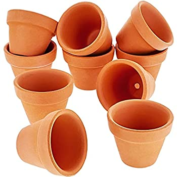 Mini Terracotta Clay Flower Pots 1.5 inch with Drainage Holes for Plants Succulent Cactus  10 Pack Small