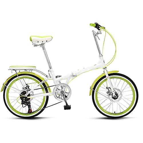 GWL Bicicleta Plegable para Adultos, 20 Pulgadas Adecuada para 140-175cm, Bicicleta de montaña prémium para niños, niñas, Hombres y Mujeres/Green / 20inch