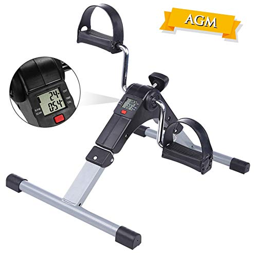 AGM Pedales Estaticos, Mini Bicicleta Estática, Pedaleador Plegable LCD...