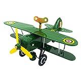AmaMary Avion Jouet, Jouet modèle de chaîne d'avion mécanique nostalgique Collection Vintage Fer-Blanc (Vert)