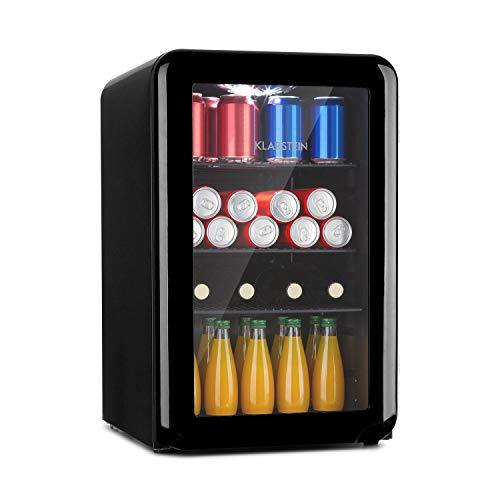 Klarstein PopLife - Getränkekühler, Kühlschrank, Retro-Design, Fassungsvermögen: 70 Liter, Temperatur: 0-10 °C, Energieeffizienzklasse A+, mechanischer Drehregler, LED, schwarz