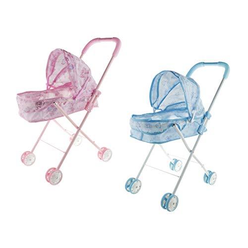 #N/A/a Carrito de Plástico para Muñecas, Muebles para Muñecas, Juego de Simulación para Niños, Azul + Rosa