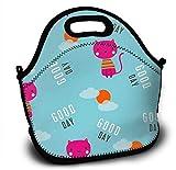 Mochila de neopreno para niños con diseño de gato, bolsa de la compra, bolsa para el almuerzo, bolso con correa ajustable para el hombro para niños y niñas