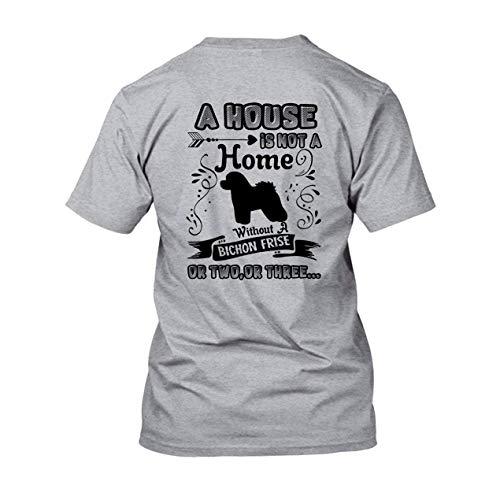 FJUGOOD Interesante Custom T Shirt Hombre's Home Without A Bichon Frise Unisex Short Sleeve T-Shirt tee