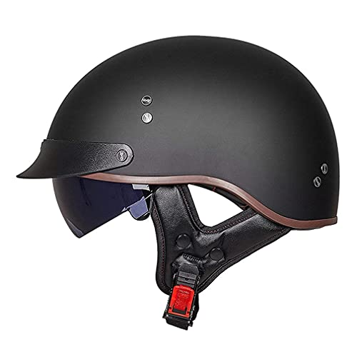 QXFJ Halbhelm Motorradhelm DOT/ECE Zertifizierung Motorrad Halbschalenhelm Herren Damen Braincap Retro Jethelm Rollerhelm Open Face Helm Chopper Scooter Helm Sturzhelm Mit Visier Unisex