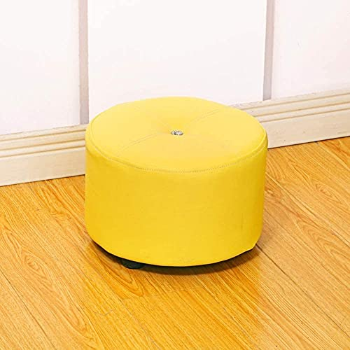 YQG Upholstered Footstool Foot Stool Round Leather Pouf Ottoman,Modern Comfortable Footrest Stool Great for Coffee Table Change Shoes Stool Kids Storage Foot(Color:Yellow,Size:31x31x23cm(12x12x9