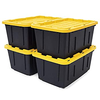 Original BLACK & YELLOW 27-Gallon Tough Storage Containers with Lids Stackable  4 Pack