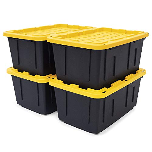 Black & Yellow 27-Gallon Tough Storage Containers with Lids, Stackable, 4 Pack, Black