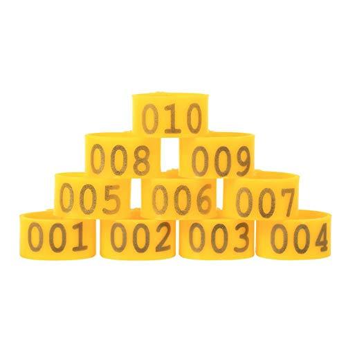 Anillas de pie para pájaros, 100 Unidades, 16 mm, 001-100, numeradas, de plástico, para Pollos, Patos y Goose- 6 Colores