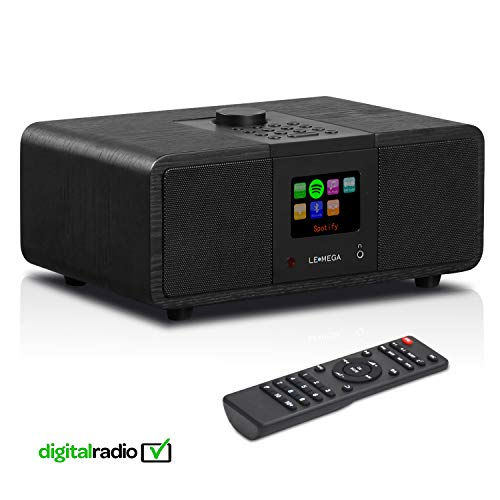 LEMEGA M3i - Stereo Internetradio, DAB/DAB+ Digitalradio, WiFi-Streaming, Bluetooth, Spotify Connect, UKW-Tuner mit RDS, USB, AUX, 2,8-Zoll-Farbdisplay,Subwoofer, 20 Watt RMS - Eiche schwarz
