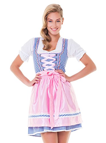 Alpenmärchen, 3tlg. Dirndl-Set - Trachtenkleid, Bluse, Schürze, Gr.40, blau-rosa - ALM3026