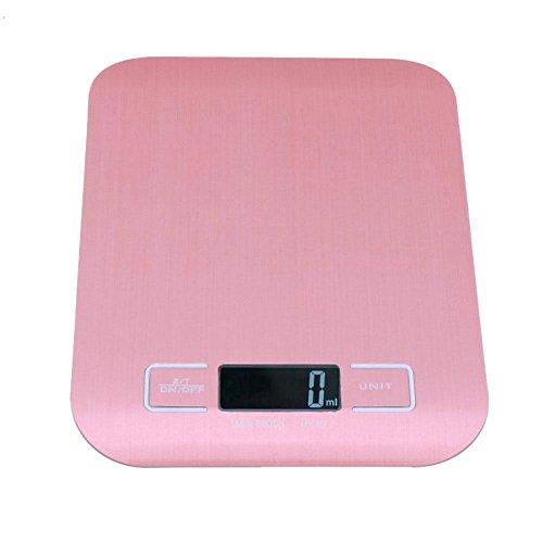 Demiawaking Bilancia da Cucina digitale in Acciaio Inossidabile 5000g/1g Bilancia per Pesare Alimenti Grammo Accurato Design Sottile per Cucina (Oro rosa)