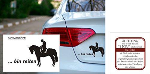 blattwerk-design Autoaufkleber - Bin reiten - Pferd - Reitsport Größen (180 mm x 100 mm, M070 Schwarz)