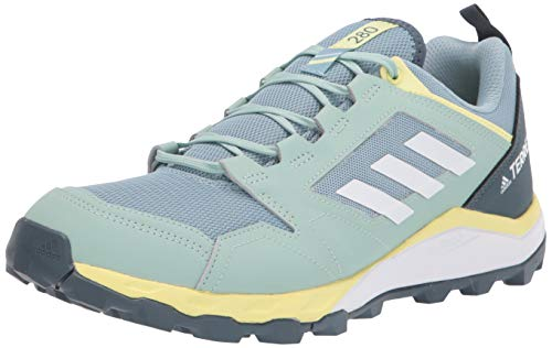 adidas womens Terrex Agravic Trail Running Shoe, Grey/White/Yellow Tint, 9 US