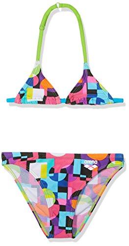 arena Mädchen Triangle Bikini Marble (Schnelltrocknend, UV-Schutz UPF 50+, Chlor-/Salzwasserbeständig), Black-Leaf-Turquoise (568), 152