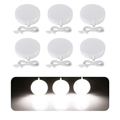 LE LED Under Cabinet Lighting Fixtures, Puck Lights Kit, 1020 Lumens, 5000K Daylight White, Night Light, Perfect for Kitchen, Closet, Stairs and More, All Accessories Included, Pack of 6